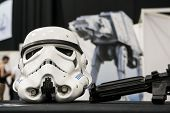 LONDON, UK - OCTOBER 28: Display of replicas of Star Wars' Storm Trooper helmet on display at the Lo
