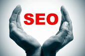 man hands forming a cup and the word SEO, search engine optimization, written in red