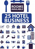 25 hotel business icons set, vector