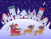 Silent Night - Christmas in a village, with cute houses and cozy homes on the hill and Santa Clause with his reindeer riding on his sleigh; whimsical hand drawn Christmas greeting card