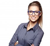 Portrait of a beautiful young woman wearing glasses