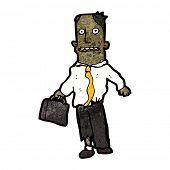 cartoon businessman in torn clothes