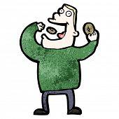 cartoon man eating doughnuts