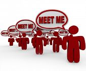 Many people talking with the words Meet Me in speech bubbles to symbolize interviewing, networking,