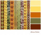 African style earth tone patterns with complimentary colour swatches. Also available in vector format.