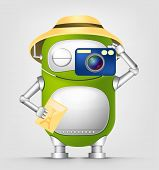Cartoon Character Cute Robot Isolated on Grey Gradient Background. Tourist Photographer. Vector EPS