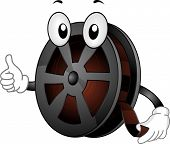 Mascot Illustration Featuring a Film Reel Giving a Thumbs Up