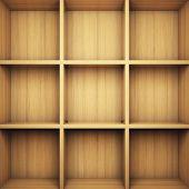 Leere Holz Bücherregal