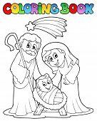 Coloring book Nativity scene 1 - vector illustration.