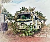 Old bus, abandoned and rusty photo