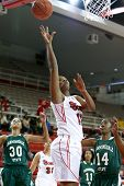 NEW YORK-NOV 3: St. John's Red Storm center Jennifer Blanding (15) goes up for a basket against the