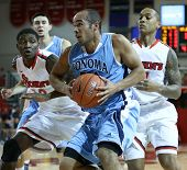 NEW YORK-NOV 3: Sonoma State Seawolves guard Patrick Scott drives to the basket against the St. John