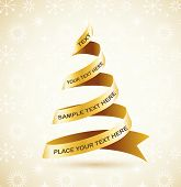 Golden Christmas tree and lights - vector background