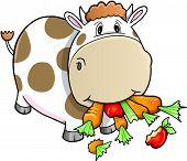 Cute Farm Cow eating vegetables Vector