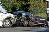 stock photo of bender  - Two Vehicle accident at a busy intersection - JPG