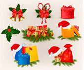 Sistema grande de Navidad iconos y objetos. Ilustración del vector.