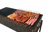 Barbecue skewers on the grill