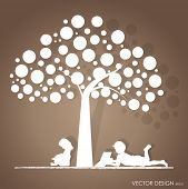 stock photo of boy girl shadow  - Vector background with children read a book under tree - JPG
