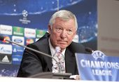 CLUJ-NAPOCA, ROMANIA - OCTOBER 1: Sir Alex Ferguson holds a press conference before champions league
