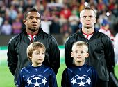 CLUJ-NAPOCA, ROMANIA - OCTOBER 2: Anderson and Cleverley in UEFA Champions League match between CFR