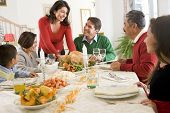 stock photo of christmas dinner  - Family All Together At Christmas Dinner - JPG