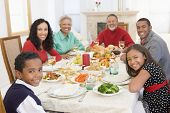 image of christmas dinner  - Family All Together At Christmas Dinner - JPG