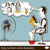 Easy Summer Comic Illustration