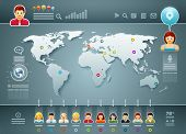 Vector world map and people infographics. Elements are layered separately in vector file. Easy editable.