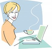 Happy Woman With Coffee And Laptop