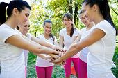 Sport women team with arms together in cooperation