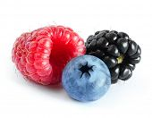 Ripe Sweet Raspberry, Blueberry and Blackberry Isolated on the White Background