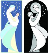 stock photo of art nouveau  - Virgin Mary holding baby Jesus in an art nouveau style illustration in full color and grayscale - JPG
