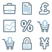 Business icons, blue line contour series