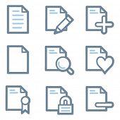 Document icons, blue line contour series