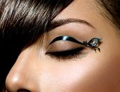 Fashion Eyes Make up. Stylish Female Eye With Black Liner makeup. Eyeliner. Beauty Make-up. Stylish