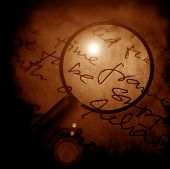 stock photo of annal  - Close up of Magnifying glass 2D digital art - JPG