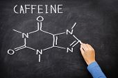 Caffeine chemical molecule structure on blackboard. Caffeine molecule drawing on chalkboard as it is found in coffee and tea etc.