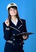 Girl In Sea Uniform With Tablet