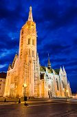 Matthias Church In Budapest, Twilight.