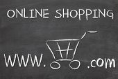 foto of free-trade  - online shopping on blackboard drawen by chalk - JPG
