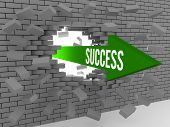 Arrow with word Success breaking brick wall. Concept 3D illustration.