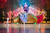 MOSCOW - DEC 30: New Years performance The Nutcracker, heroes of fairy tale on stage of the Cultural