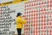 MOSCOW, RUSSIA - JULY 28: Girl corrects the leaderboard during final round of the M2M Russian Open at Tseleevo Golf & Polo Club in Moscow, Russia on July 28, 2013