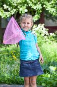Happy Caucasian Child Showing Butterfly Net