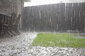 View of heavy rains in backyard
