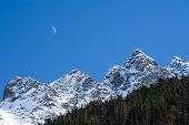 Mountains Edge And Moon