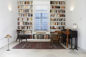 Interior of town house with books arranged in library