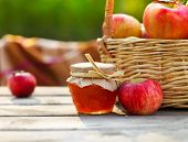Apples In A Basket On Wooden Table