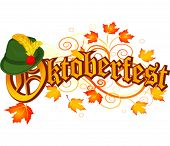 Oktoberfest celebration design with Bavarian hat and autumn leaves