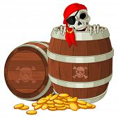 Pirate skeleton gets out of the barrel